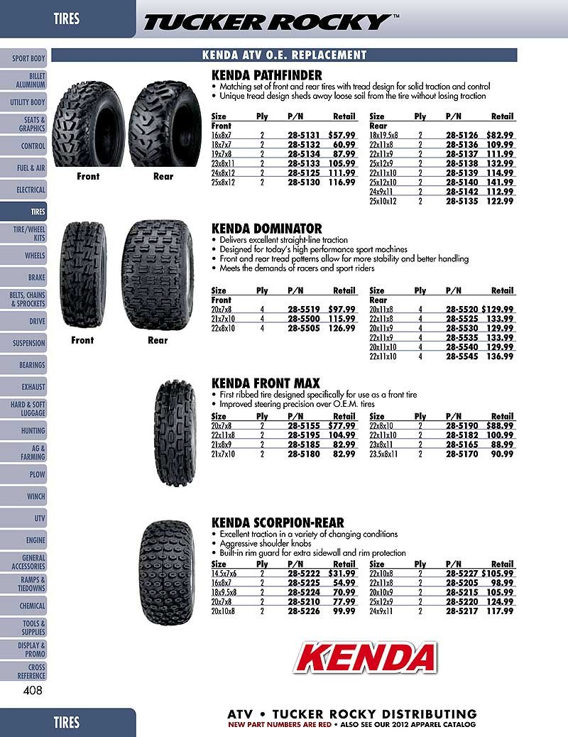 Kenda K530 Pathfinder ATV Bias Tire - 24x8.00-12 by Kenda
