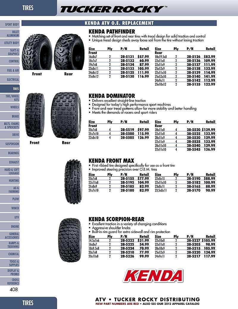 Kenda K530 Pathfinder ATV Bias Tire - 24x8.00-12