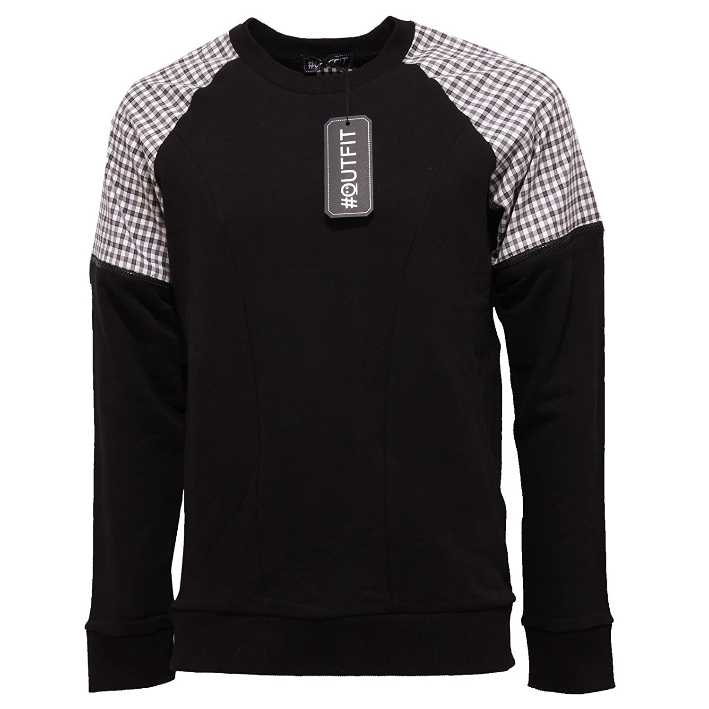 Outfit 4705Q Felpa garzata  Herren nera felpe Sweatshirts Men