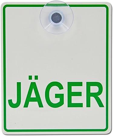 Saugnapfschild Schild Jäger Acrylschild 3mm Mit Saugnapf 30mm Ca 10x12 Cm Für Scheibeninnenbefestigung Auto