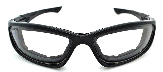 Vertx Sonnenbrille/Motoradbrille, leicht, stark gepolstert, Unisex, inklusive Mikrofaserbeutel, mehrfarbig, VTX-55017G-FBLKGLS-LCLR