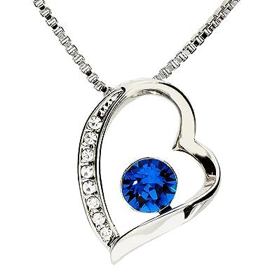 6f67ad1a641a MYA art Damen Kette Halskette Herz Anhänger mit weißen Zirkonia Blauem  Swarovski Elements Kristall Herzkette Silber Blau Weiß  Amazon.de  Schmuck