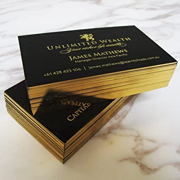 Amazon 250 hot foil black business cards with gold foil edging 250 hot foil black business cards with gold foil edging gold foil x 2 sides reheart Choice Image
