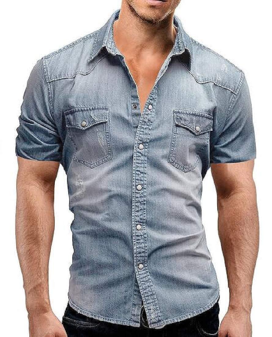 YYG Men Button Up Summer Dress Shirts Short Sleeve Denim Work Western Shirt