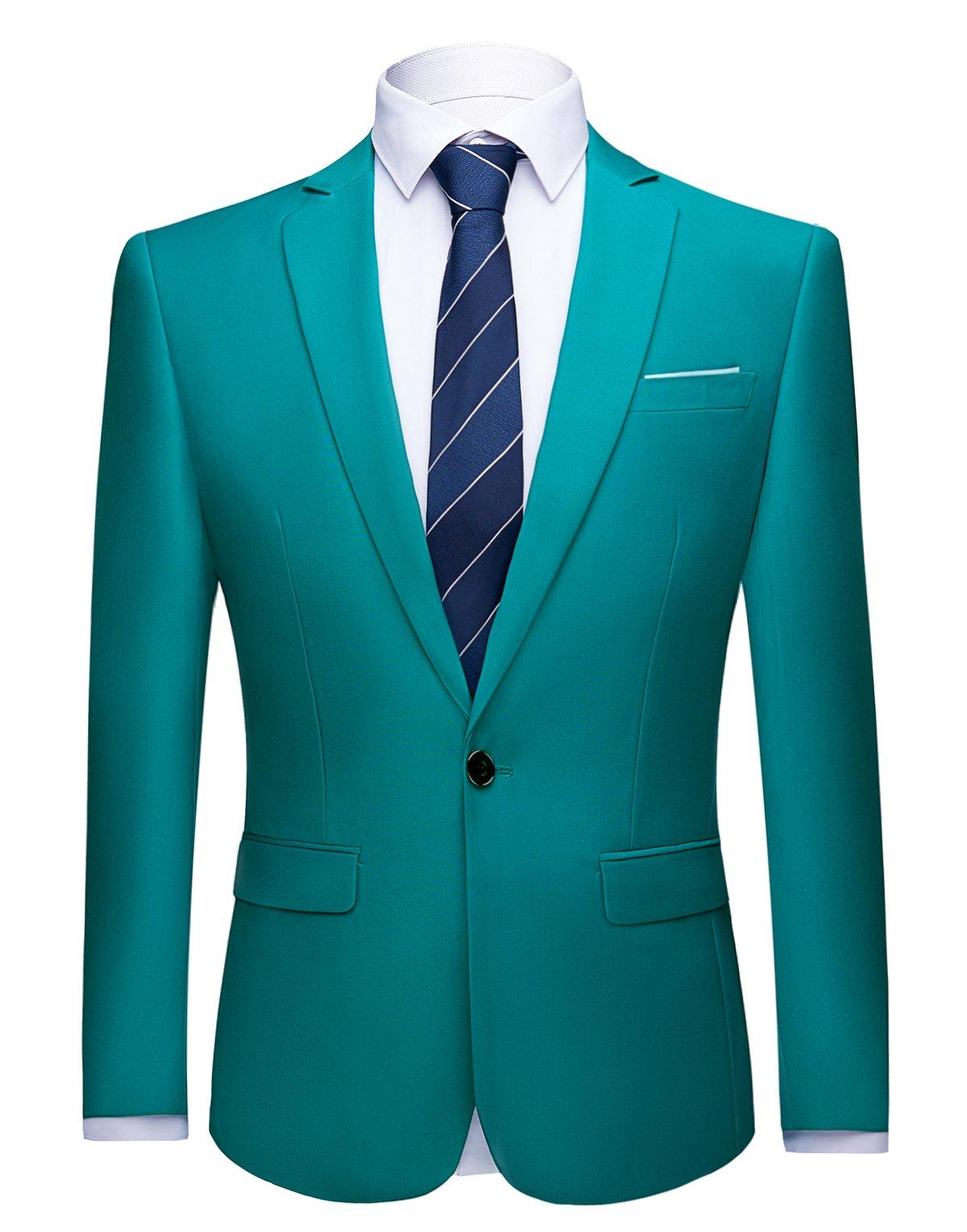 WULFUL Men's Suit Blazer Slim Fit One Button Casual Formal Suit Jacket Wedding Tuxedo
