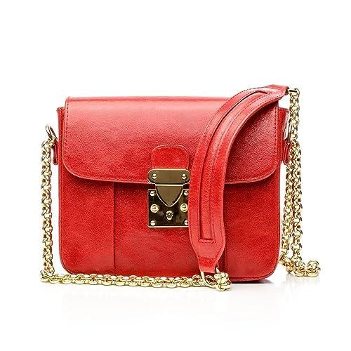 bbce8030f7e2c Amazon.com  Red Leather Women Crossbody Mini Bag MURA GURA Red Alert   Handmade