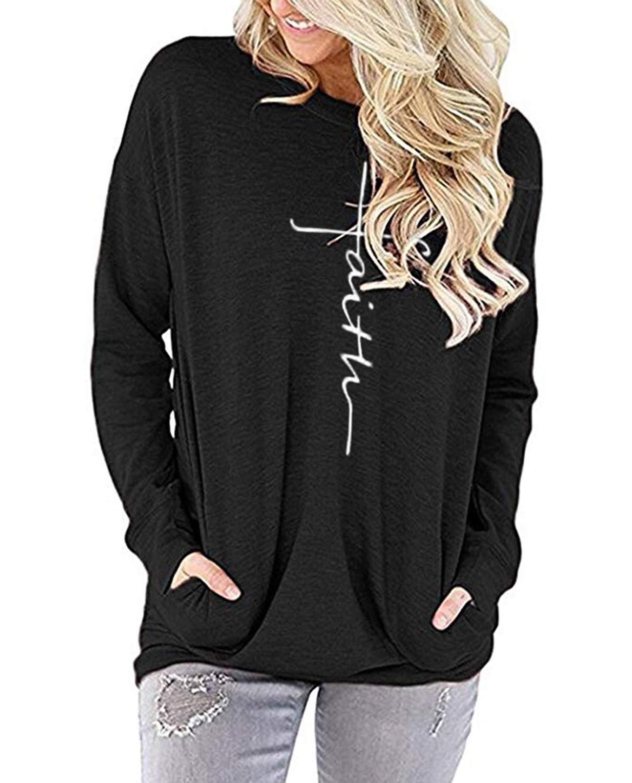 ZILIN Women's Casual Letter Print Crewneck T-Shirt Long Sleeve Tunic Tops Sweatshirt with Pockets