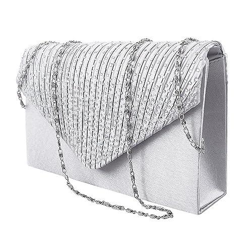 b2c3b1c9b0a68 Pochette Donna Elegante da Cerimonia Borsa Donna Tracolla con Catena  Piccola Strass Diamante Clutch Borsetta (