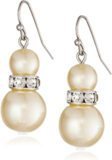 """product image for 1928 Jewelry """"Pearl Essentials"""" Silver-Tone White Graduated and Crystal Drop Earrings"""