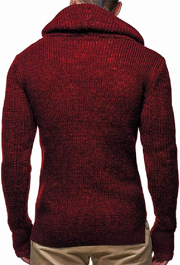 Wofupowga Mens Jumper Pullover Vogue Knitted Turtle Neck Slim Sweaters