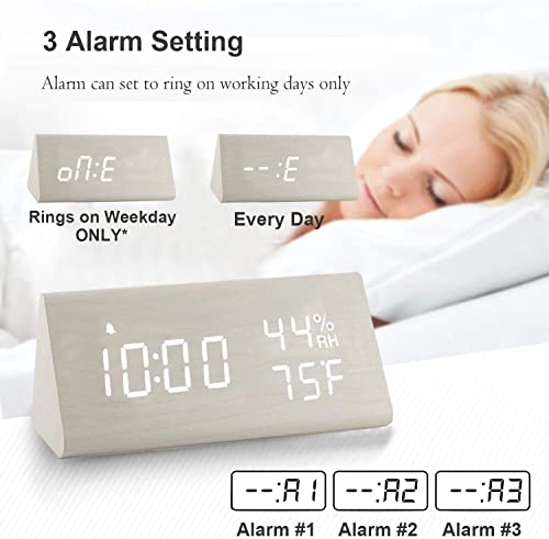 2020 Upgraded Digital Wooden Alarm Clock, with 3 Alarm Settings, Electronic LED Time Display, 3 Level Brightness Temperature, Good for Bedroom, Bedside, Desk, Office, Kids and Families, White