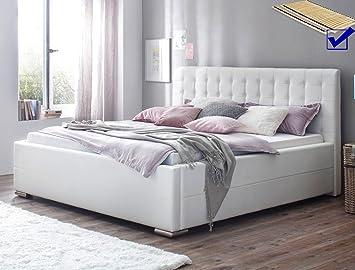 Polsterbett Toni 180x200 Kunstleder Weiß Bettkasten Lattenrost Futonbett Bett  Schlafzimmer Gästezimmer