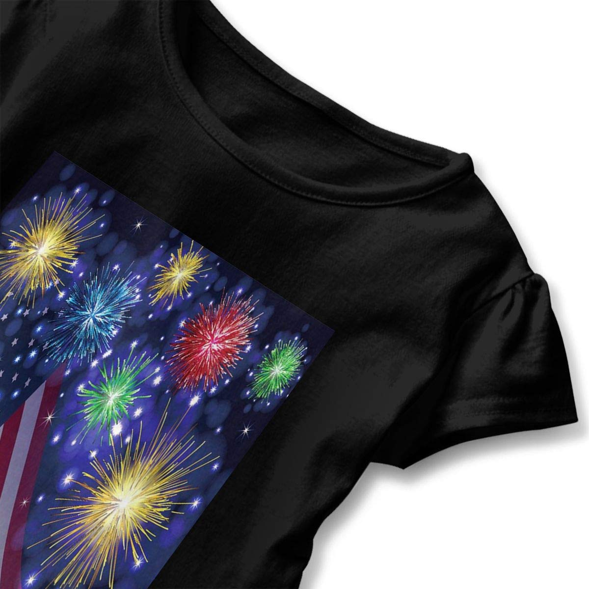 JVNSS American USA Flag Independence Day Comfort Kids Flounced T Shirts Tee Shirts for 2-6T Baby Girls