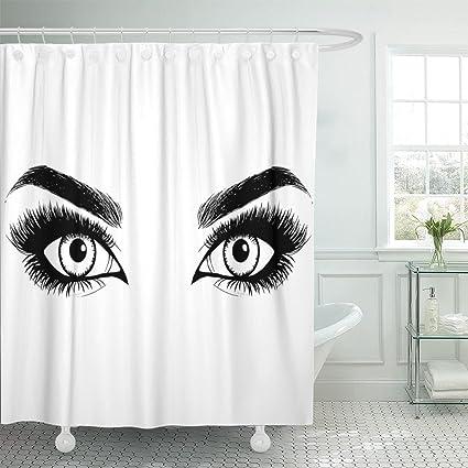 Amazon TOMPOP Shower Curtain Blue Woman Beautiful Women Eyes