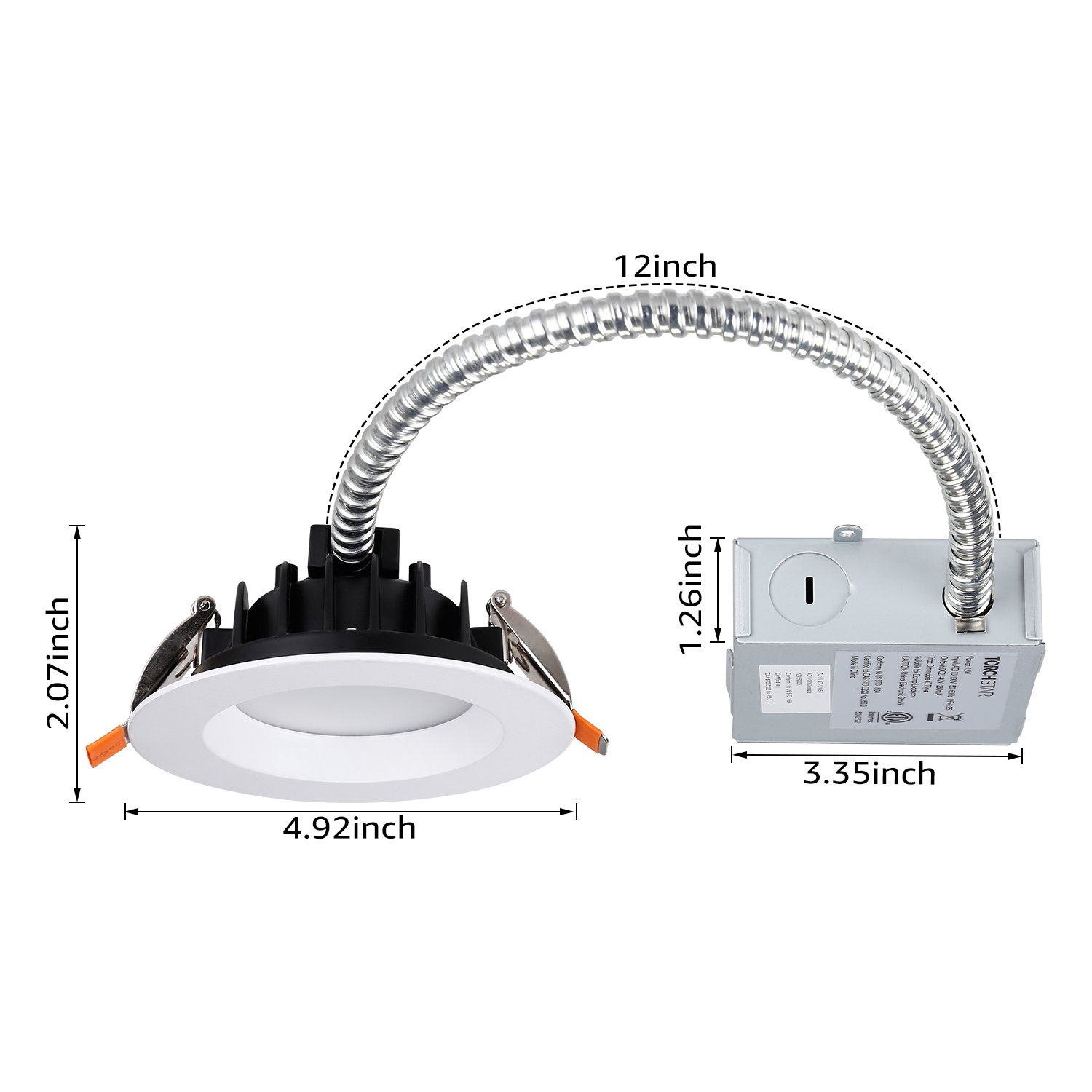 "TORCHSTAR 12W 4"" Slim Recessed Ceiling Light with Junction Box, Dimmable Can Killer, IC Rated Airtight Downlight, 90W Equiv, ETL & Energy Star Certified, 3000K Warm White by TORCHSTAR (Image #8)"