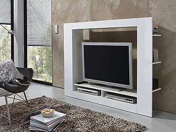 Schrank wohnzimmer weiß  Wohnwand Anbauwand Schrankwand Wohnzimmer Schrank Weiß mit Hochglanz ...