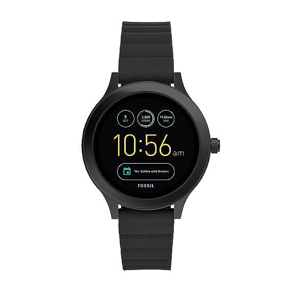 Smartwatch Fossil Q Venture Gen 3 Unisex, Caja de acero inoxidable negro con correa de silicona negra, Compatible con Android e iOS