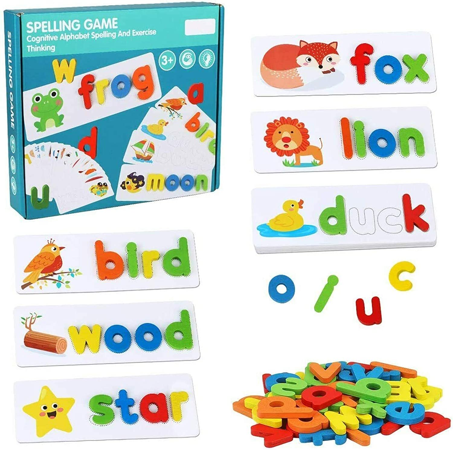 See and Spelling Learning Toys Wooden Educational Matching Letter Game Toys- Develop Letter Word Spelling Skills Letter Blocks for Girls 3-8 Years Old Girls Boys Big Gifts
