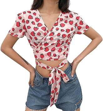 Geilisungren Moda de Mujer Casual Manga Larga con Cuello en v Impresión de Fresa Tops Blusas para Mujer Vaquera Tops Camisetas Mujer Manga Corta Beauty Vestido Corto Elegante Sexy Cuello V: Amazon.es: