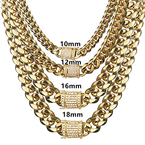 fd3274cbe68 FANS JEWELRY 8-18mm Mens Miami Cuban Link Chain 18K Gold Stainless Steel  Curb Necklace Diamond Clasp Choker(10mm