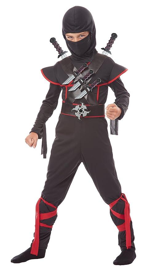 California Costumes Kids Stealth Ninja Costume with Weapons Belt, Black/Red, Medium