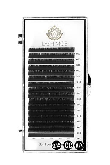 abc5303d64c Amazon.com : Eyelash Extensions by LASH MOB - CC Curl - 0.15 or 0.18  Diameter - Mixed Tray for Professionals (0.15) : Beauty