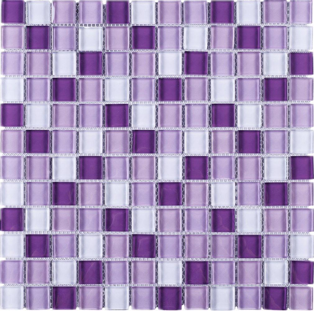 TGEMG-05 1x1 Square Purple Glass Mosaic Tile Sheet-Kitchen and Bath backsplash Wall Tile,Pool Tile,Shower Tile (10 Sheets)