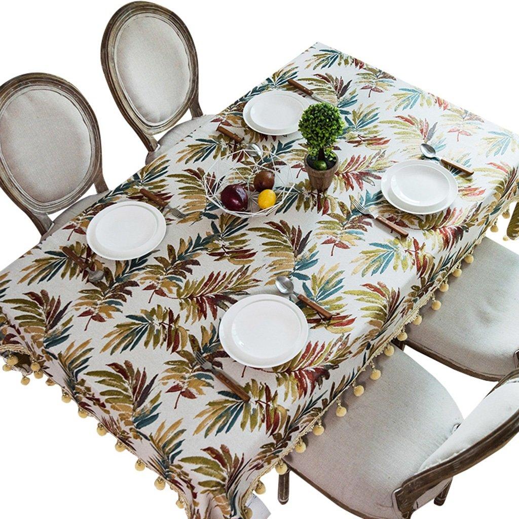 130200cm Xi Man Shop Quadratische Tischdecke Baumwolle und Leinen Wohnzimmer Couchtisch Tischdecke nordischen Stil weiße Unterseite Blätter Mit Quasten (Größe   130  200cm)