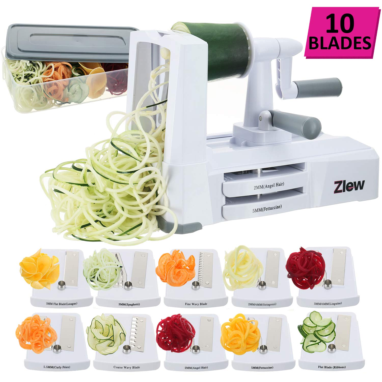 10-Blade Spiralizer Vegetable Slicer Strongest Heaviest Duty Veggie Pasta Spaghetti Maker for Healthy Low Carb/Paleo/Gluten-Free Meals with Blade Caddy, Container, Lid & Exclusive Recipe Book by Zlew by ZLEW