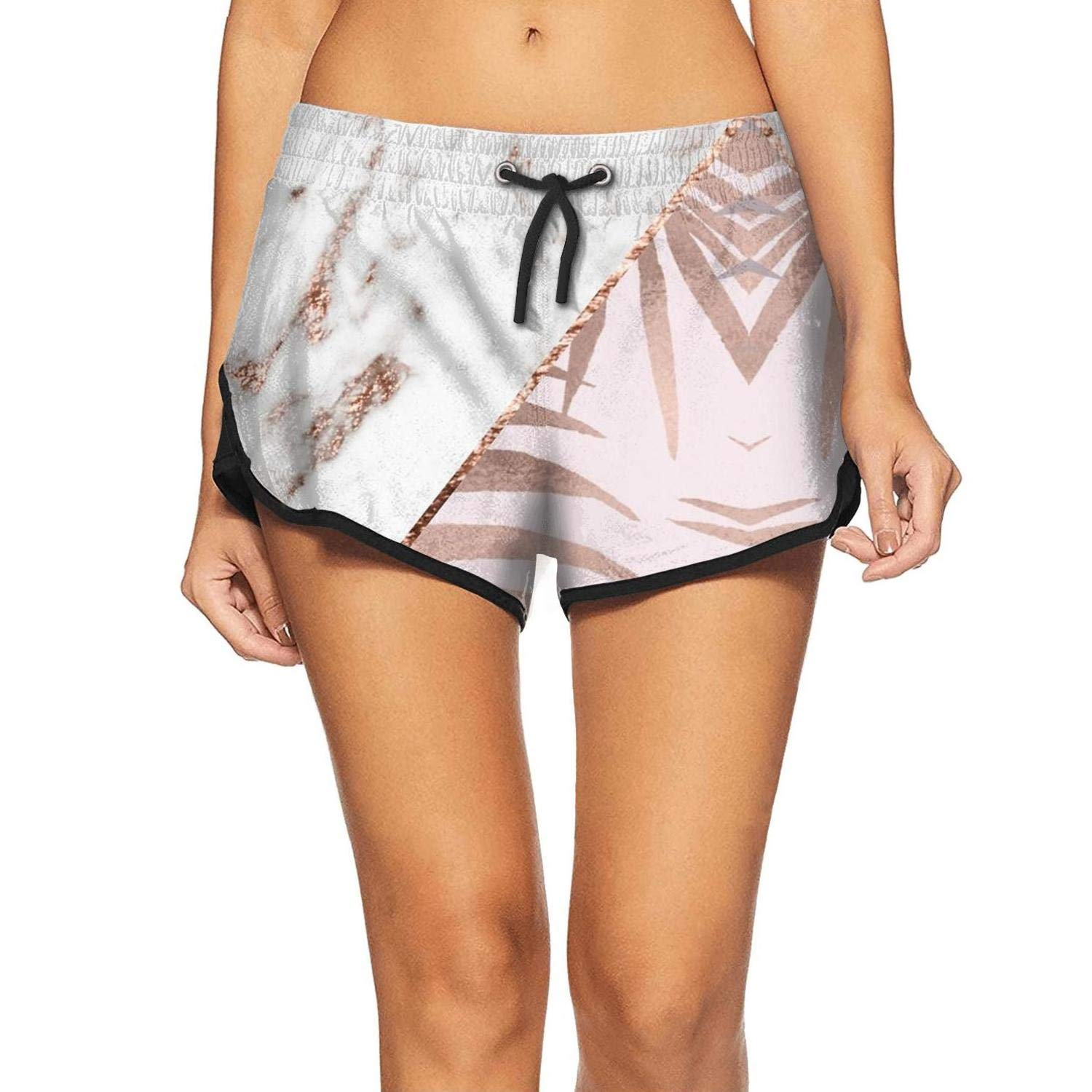 Rose Gold Marble Geometric Womens Swimming Trunks Waterproof Adjustabl for Vacation