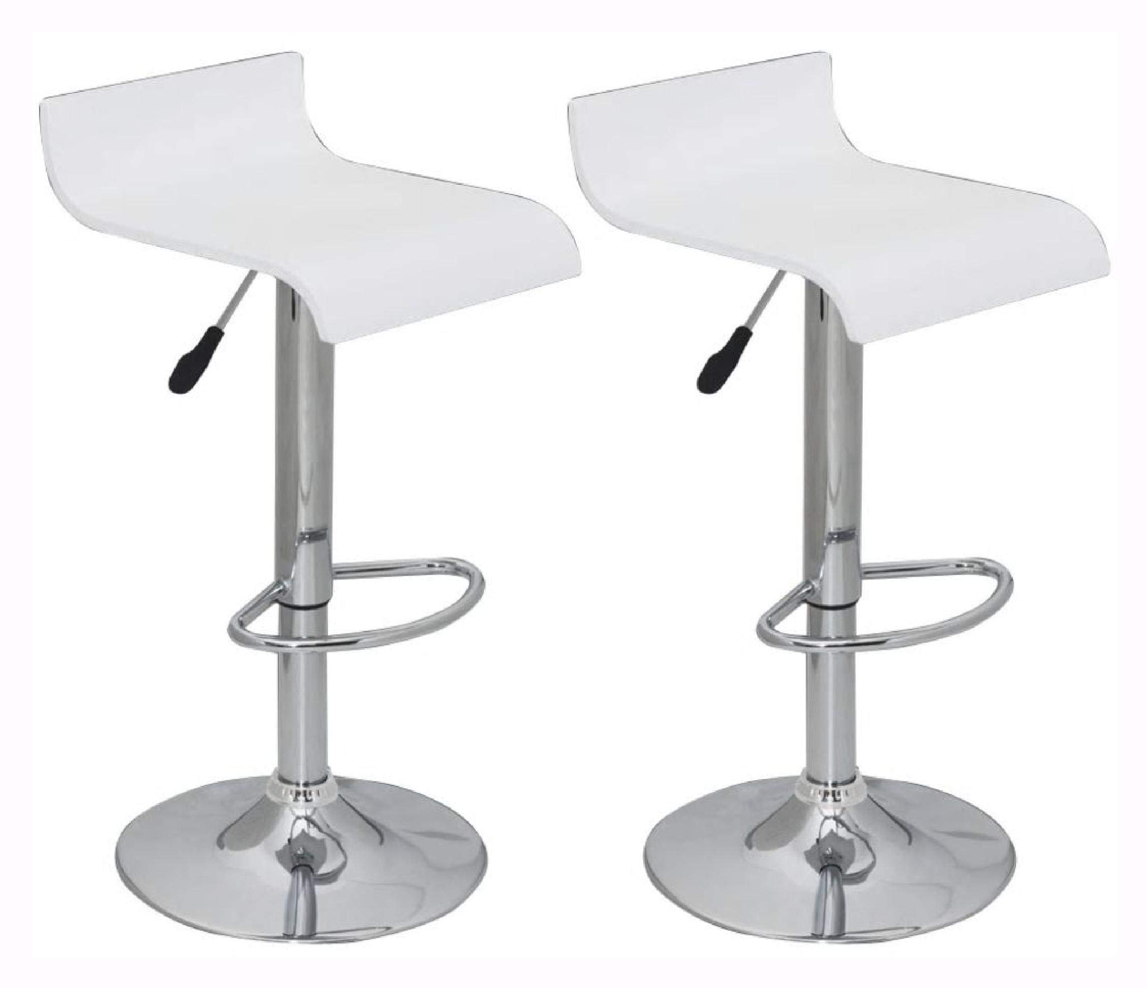 Table & Bar Stool, Set of 2 White Bar Stool Wooden Seat with Low Backrest by HomyDelight