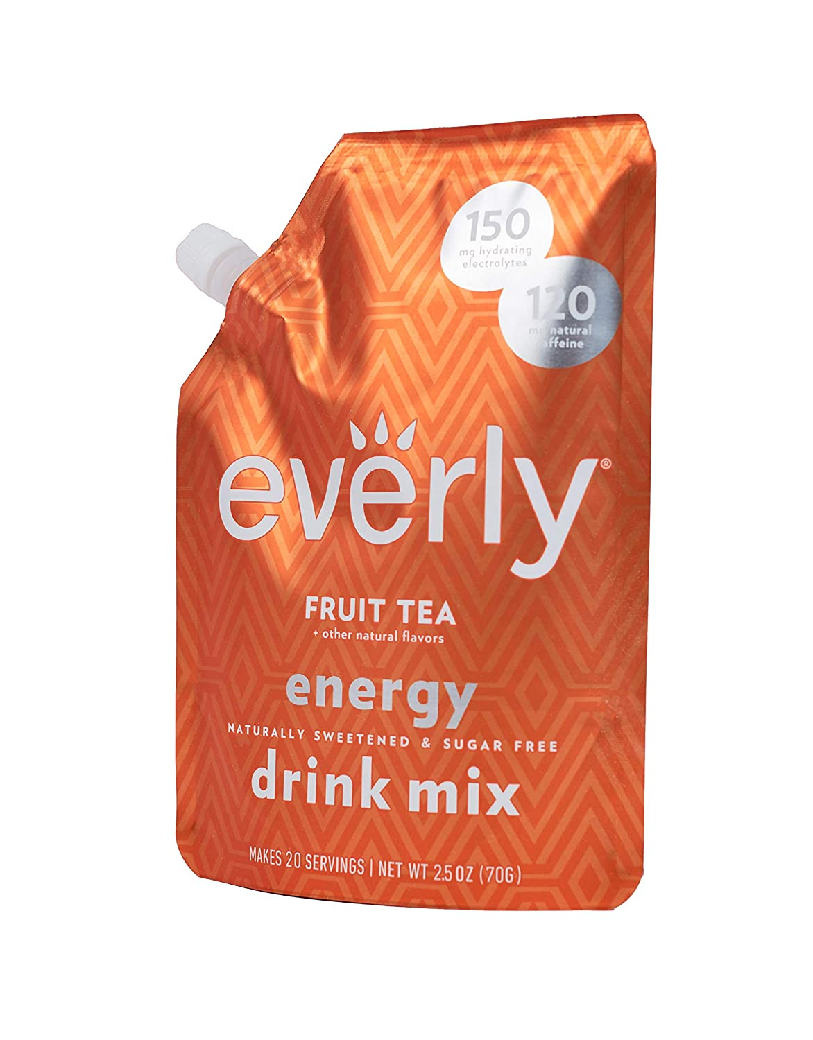 Everly Energy - Natural Energy Drink Mix Powder, Sugar Free, Natural Sweeteners, Organic Caffeine, Keto Diet, Water Flavoring & Enhancer - Pouch, 20 Servings (Fruit Tea)