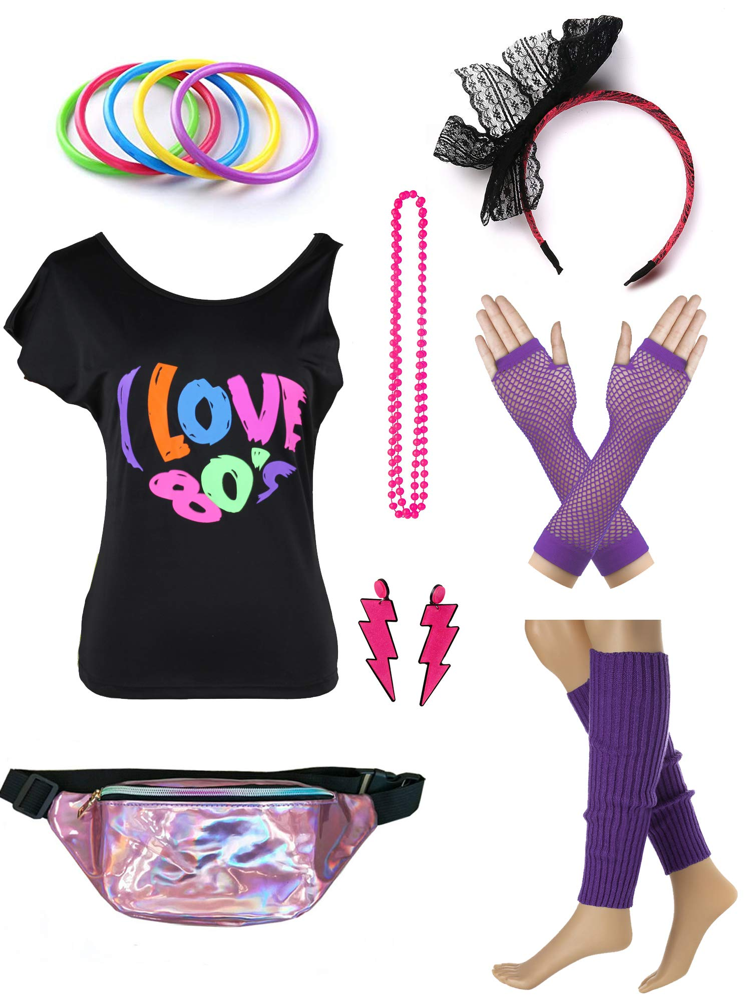 Womens 80s Accessories Set I Love The 80's T-Shirt with Neon Fanny Packs (M, Purple)