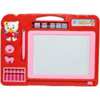 AIJIO 2-in-1 Double Sided Magnetic Educational Whiteboard and Blackboard with Chalk, Duster and Stylus (Pink)