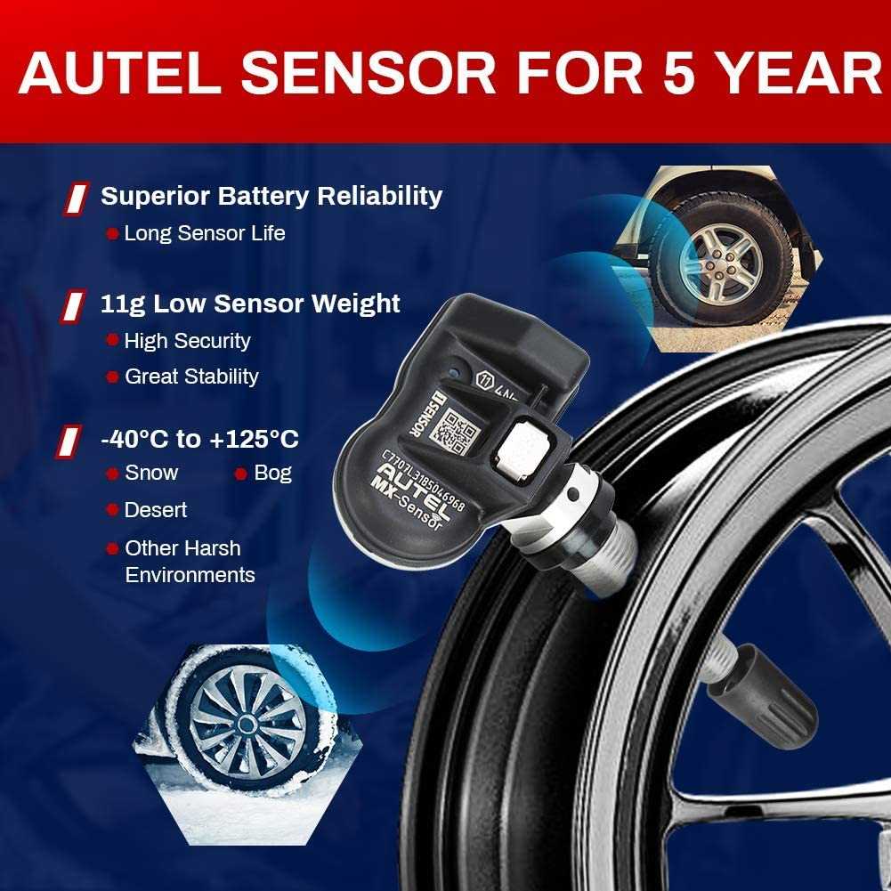 Same as OE Sensors for All Cars Autel MX-Sensor 2 in 1 100/% Cloneable TPMS Programmable Sensors for Tire Pressure Monitoring System 315MHz + 433MHz Rubber Valves, Screw-in, Set of 4 Pieces