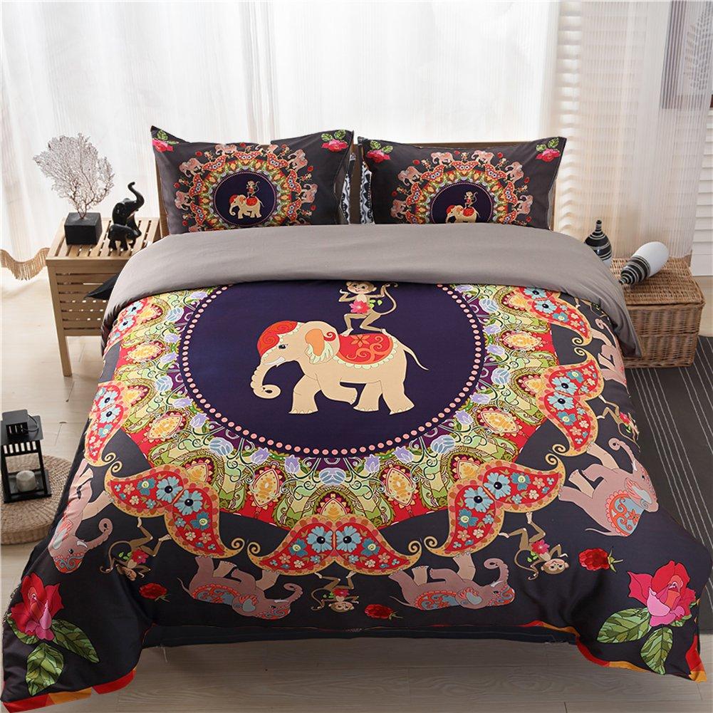 Moreover 3ピース象羽毛布団カバーセット寝具フラミンゴとマーメイドクイーン キング DX-SMYH-02-K-001 B07DHMGBDW キング|Elephant & Monkey Elephant & Monkey キング