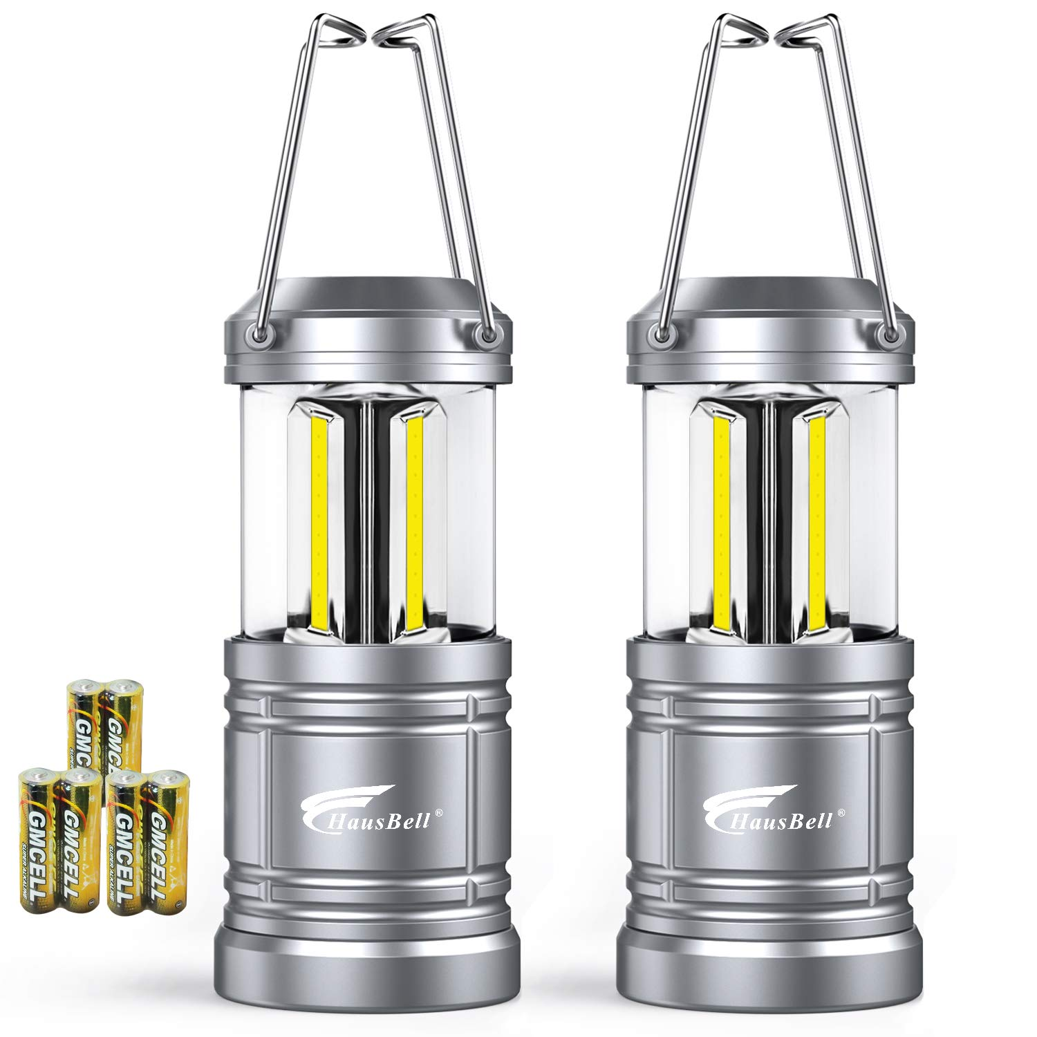2 Pack Camping Lantern with 6 AA Batteries - Magnetic Base -Hausbell Portable Collapsible LED Camping Lantern Flashlights -Survival Kit for Emergency,Collapsible, Waterproof, Shockproof LED Lantern
