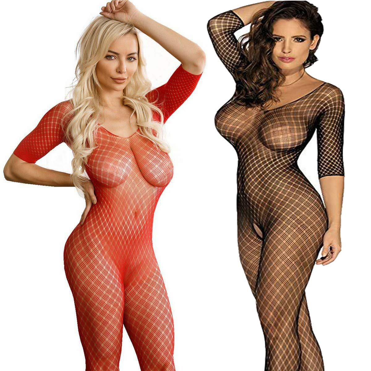 LOVELYBOBO 2 Pack Womens Fishnet Long Sleeve Bodystockings Striped Lingerie Crotchless Bodysuits Tights Plus Size (Black+red)
