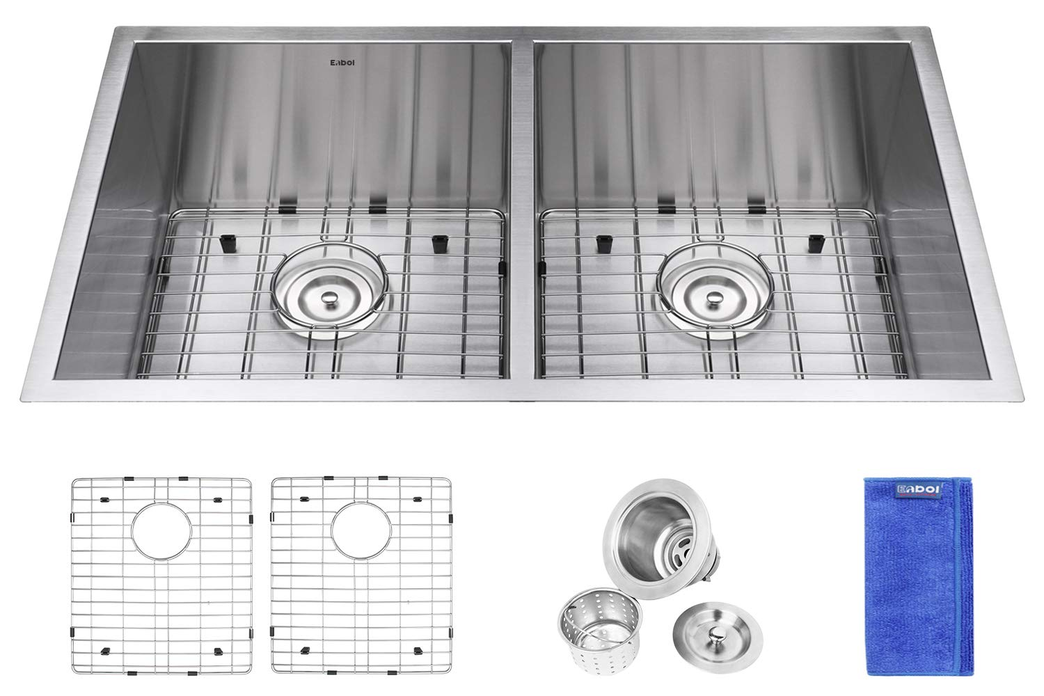 Enbol ESD3319, 33 Inch Undermount 50/50 Double Bowl Premium Stainless Steel Kitchen Sink with Protective Bottom Grid and Strainer, 10 Inch Extra Deep, Zero Radius for More Workspace Modern