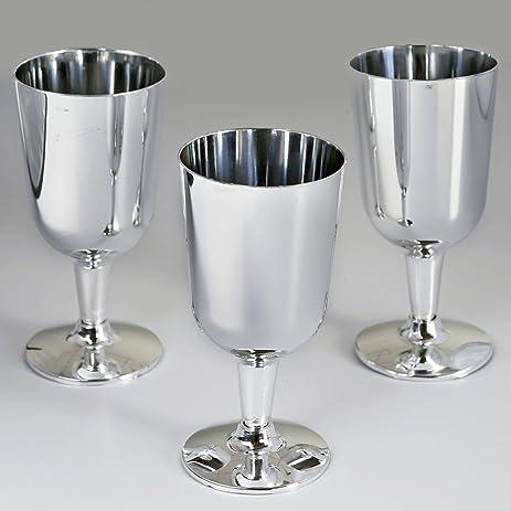Amazon.com: BalsaCircle 44 pcs 7 oz Silver Plastic Wine Glasses ...
