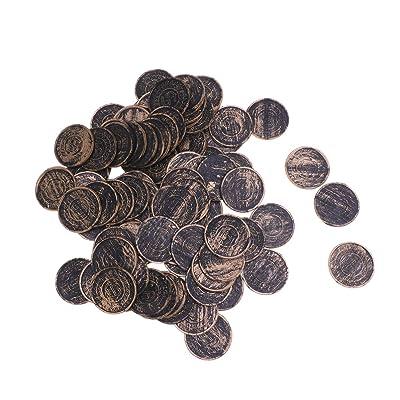 Amosfun Juego de Monedas de Tesoro Pirata Monedas Pirata Moneda Conmemorativa Moneda Juguete Pirata Fiesta Suministros lotería Monedas Accesorios niños Juguetes 100 Piezas: Juguetes y juegos