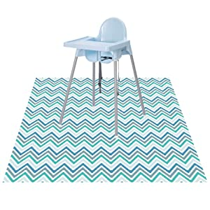 "Splat Floor Mat for Under High Chair/Arts/Crafts by CLCROBD, 51"" Waterproof Anti-Slip Food Splash Spill Mess Mat, Washable Portable Picnic Mat and Table Cloth (Chevron)"