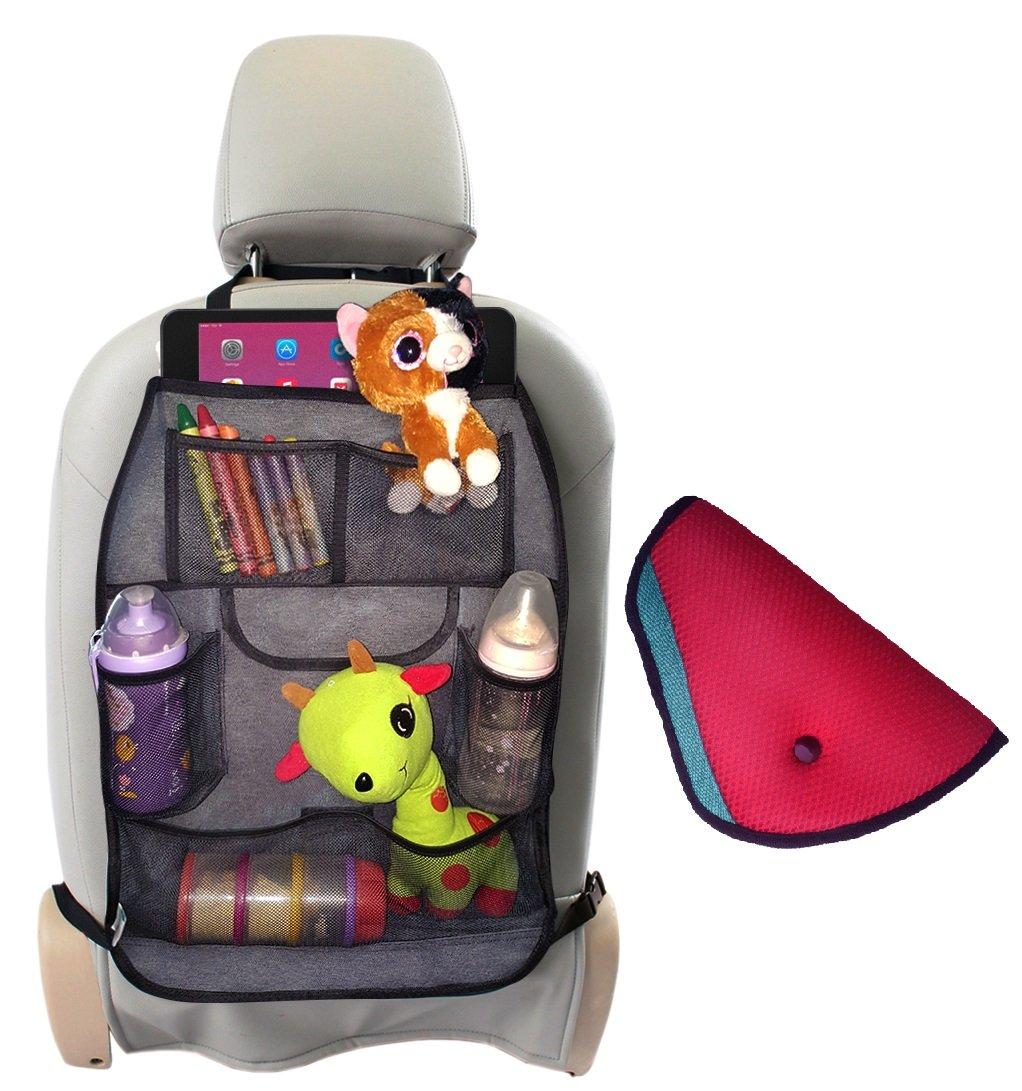 amazoncom car organizer back seat grey denim car seat organizer with free seatbelt cover travel accessories for car organization baby