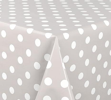 Wachstuch Tischdecke Abwaschbar Meterware Glatt Punkte Weiß Grün