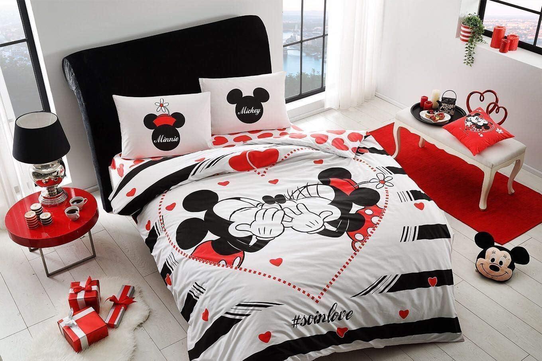 Disney Valentine S 100 Cotone Con Licenza Mickey E Minnie Love Set Copripiumino Matrimoniale 4 Pezzi Set Di Biancheria Da Letto Copripiumini Casa E Cucina Aaaid Org
