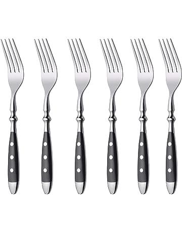 12pcs 6 Couteaux à Steak 6 fourchettes Parti en Plastique Coloré Poignées en Acier Inoxydable Bbq