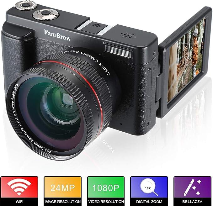 51 opinioni per Fotocamera Digitale e Videocamera ,FamBrow Full HD 1080P WiFi Camcorder 24MP 16x