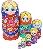 Perfect Mother Day Gifts Set of 7 Pieces Beautiful Lovely Wood Red Flower Girl With Blue Scarf Traditonal Russian Nesting Dolls Matryoshka Wishing Dolls Toy Gift Home Room Decoration