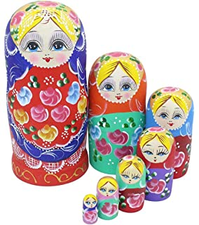 Colorful Little Girl Heart Pattern Wooden Handmade Russian Nesting Dolls Matryoshka Dolls Set 15 Pieces For Kids Toy Birthday Christmas Gift Home Decoration Collection Winterworm