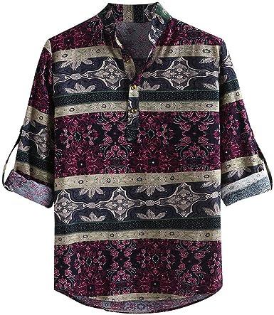 Camisa de Manga Larga Casual de Estilo étnico para Hombre cómodo Suelto Camisa Estampada de Playa Top Shirt Impresa de Vacaciones de Viaje Camisas Estampadas: Amazon.es: Ropa y accesorios